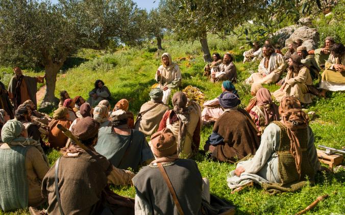 Jesus Preaching on a Hillside